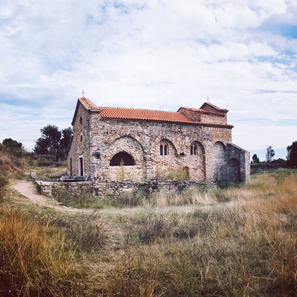 Grass Architecture Field Building Exterior History Landscape No People Oldchurch Historical Building Historical Place Alexander The Great Orthodox Church Albania Gjiri I Lalzit Church Architecture Stonechurch Stonearchitecture Nature