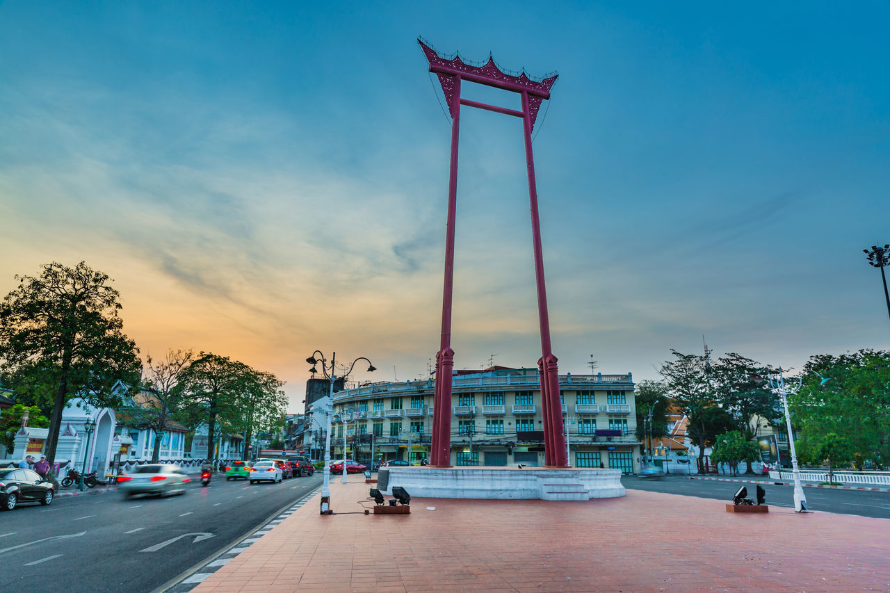 The Giant Swing Bangkok City Cloud - Sky Culture Dawn Day Giant Swing Landmark Landmark Tower Landscape No People Outdoor Outdoors Photography Relegion Sky Spirit Spirituality Street Street Photography Streetphotography Temple Tower Travel Travel Destinations