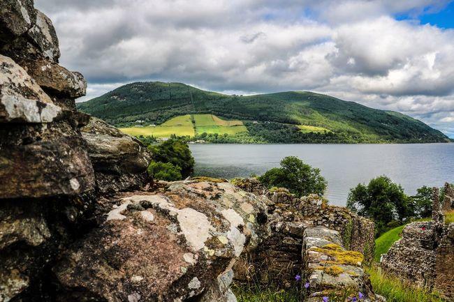Beauty In Nature Castle Ruin Lake View Landscape Loch Ness Mountain Nature Scotland Scotland 💕 Scotlandsbeauty Scottish Highlands Travel Destinations UrquhartCastle