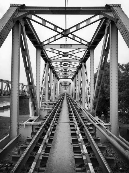 Monochrome Photography Railroad Track Railroad Bridge Bridge Transportation Architecture Moto X Play Chhattisgarh,India
