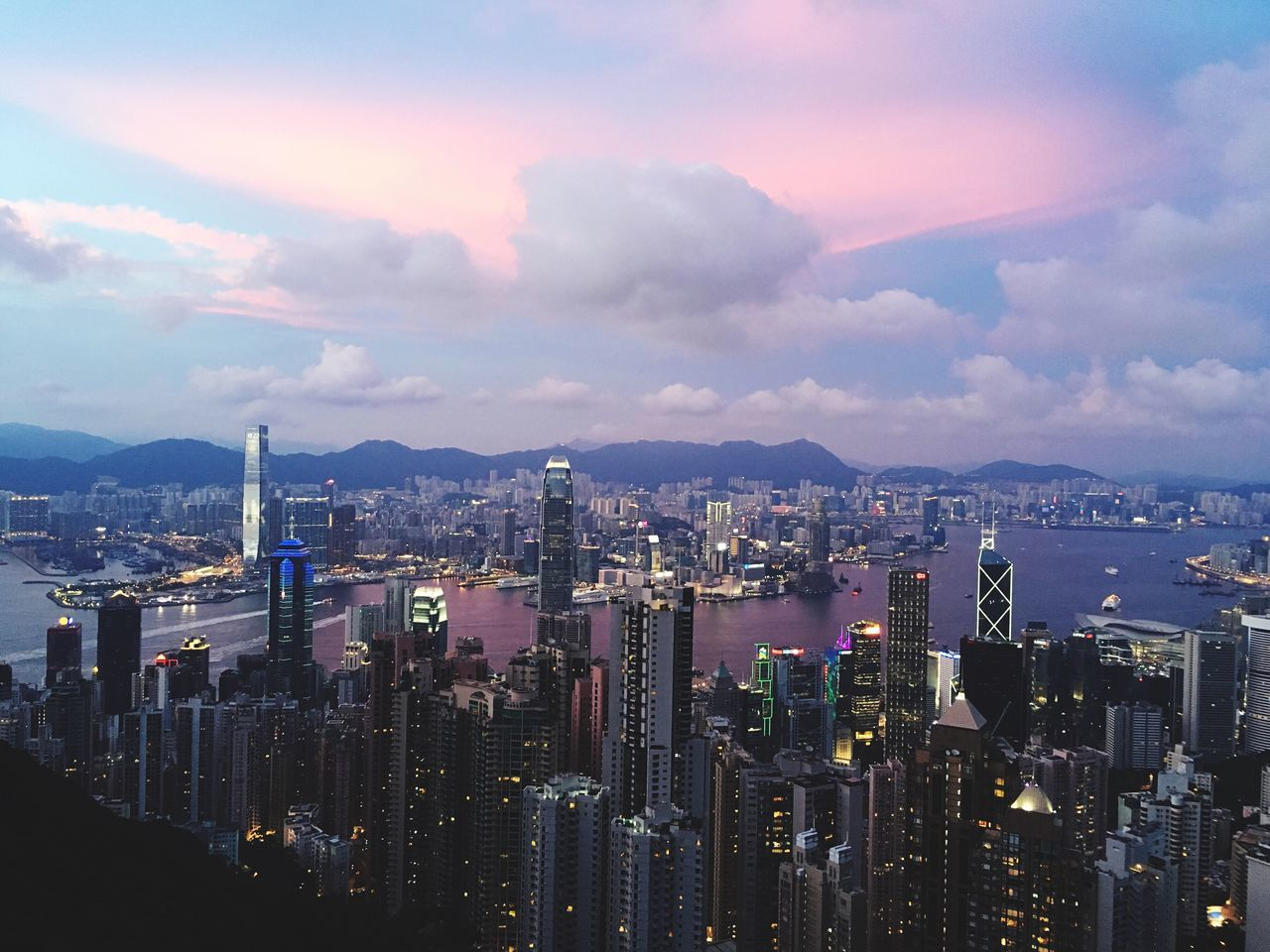 Hong Kong, city view at Twilight from The Peak HongKong City View Skyline Lights china Twilight sunset evening night
