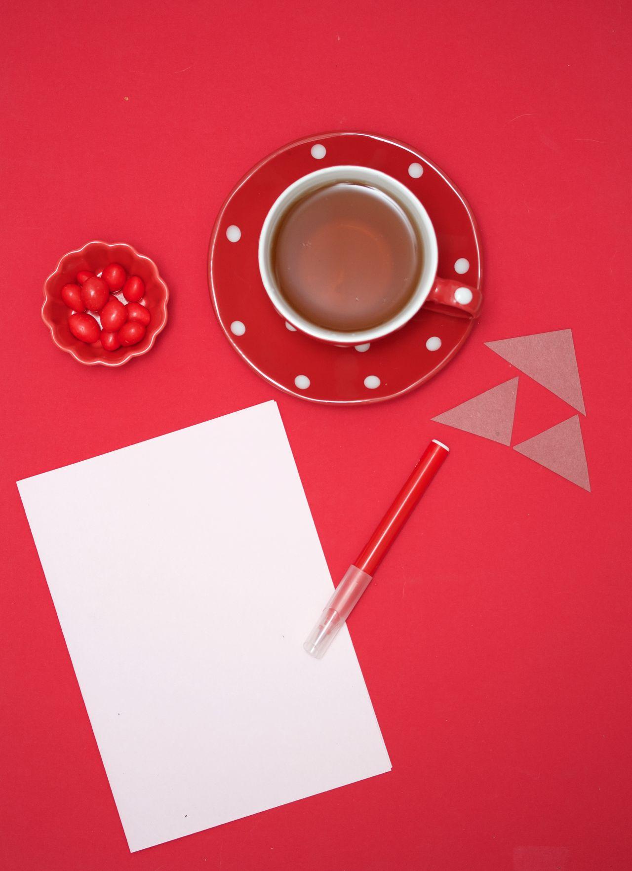 red desktop Close-up Desktop Drink Indoors  No People Peanuts Red Red Pen Reminder Table Tea