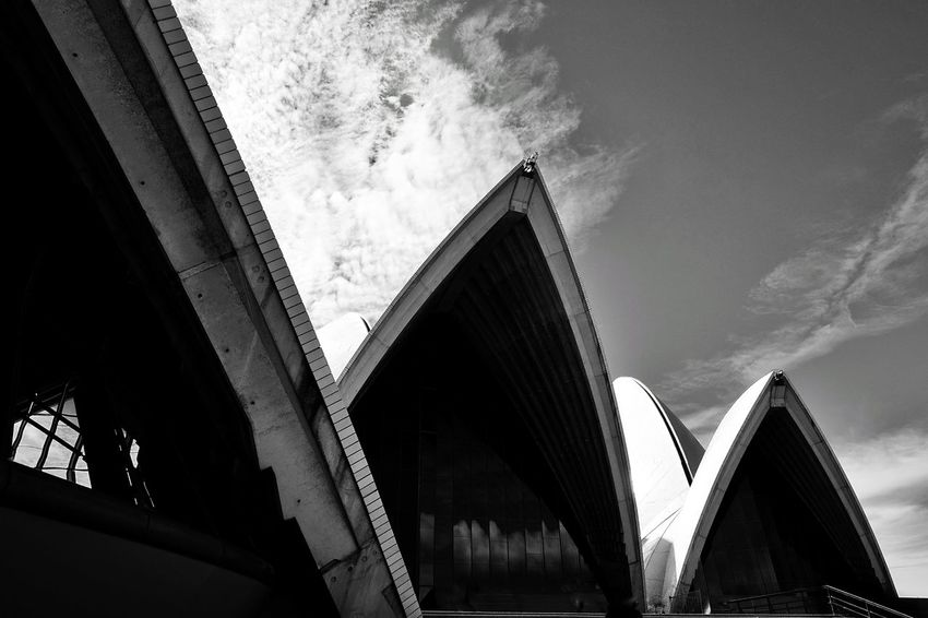 Probably the most iconic landmark in Australia. Sydney, Australia Sydney Opera House Opera House Opéra House Architecture Outdoors Low Angle View Day Sky Building Exterior Blackandwhite