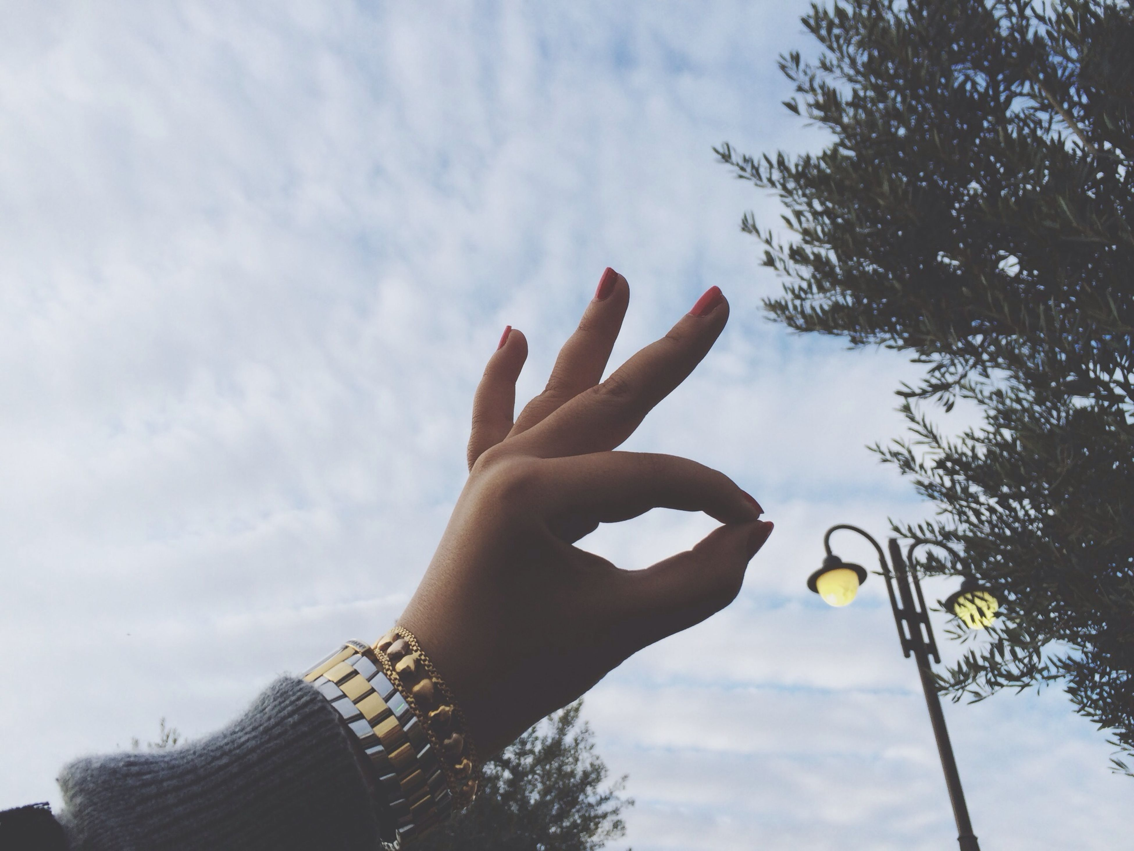 person, sky, low angle view, holding, part of, human finger, cloud - sky, tree, cropped, personal perspective, cloud, lifestyles, leisure activity, cloudy, outdoors, unrecognizable person, nature