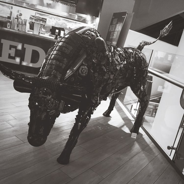 Bull made of old cogs Steampunk Cogs Metal Bull Dangerous Shopping Mall Charge Invention