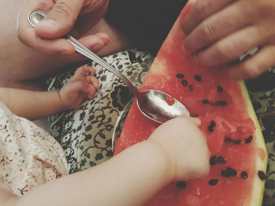 EyeEm Selects Human Hand Baby Hands  Man Hands Watermelon Watermelon Slice Watermelon Seeds Spoon Eating Healthy Eating Fruits Home Family Father And Daughter Four Hands EyeEmNewHere The Week On EyeEm Mix Yourself A Good Time