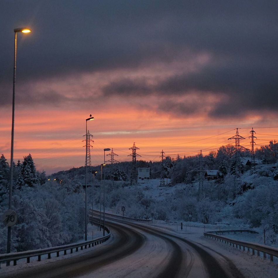 """""""The middle of the road is where the white line is, and that's the worst place to drive"""" - Robert Frost EyeEm Best Shots Landscape_Collection Eye4photography  Clouds And Sky Winter Landscape Nature Open Edit Road Sunrise Cloudporn It's Cold Outside"""