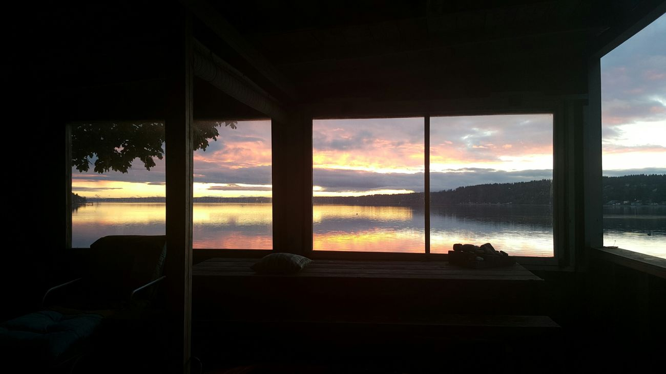 Puget Sound Shack Sunset Washington State Water Windows Inside Out Beach House Shadows Chair Table No Filter