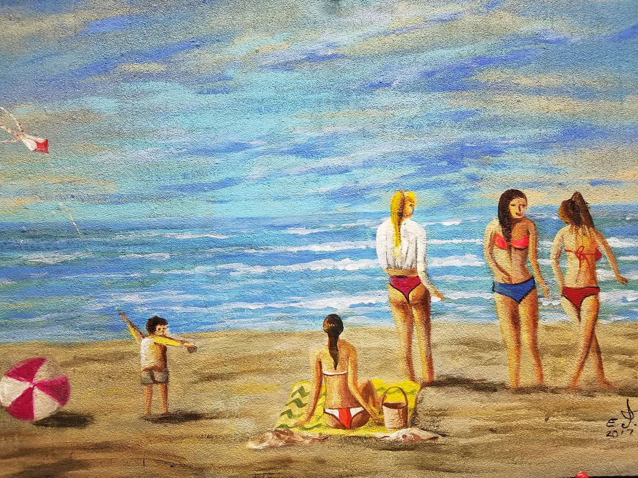 """Sunday at the beach, Acrylic on my secret canvas 16""""_24"""".original and uniquely my style no copy . Real People Beach Day Sand Leisure Activity Sky Play Time Women Outdoors Beauty In Nature Drawing My Art Collection Fine Art Art, Drawing, Creativity Art Freedom Creativity Acrylic Friendship. ♡   Love❤ Koi with My Best Friends ❤"""