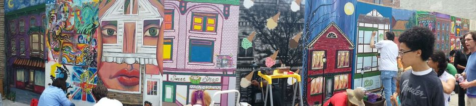 Local Artists creating a mural of downtown Stroudsburg Pennsylvania