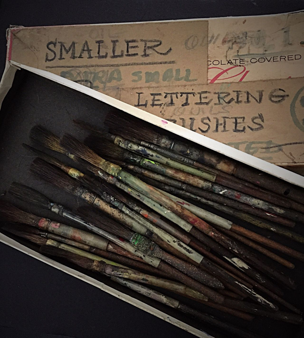 Tools of my Grandfather's Trade Paint Brushes Sign Painter Hand Lettering Worn Out & Wonderful  Worn Artistic Tools Paint Brush Obsolete Days Gone By Wabi-sabi Tools Of The Trade Entropy