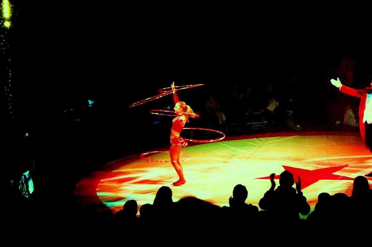 Circus Circus Shadow Audience Performance Acrobat Hullahoop Spotlight