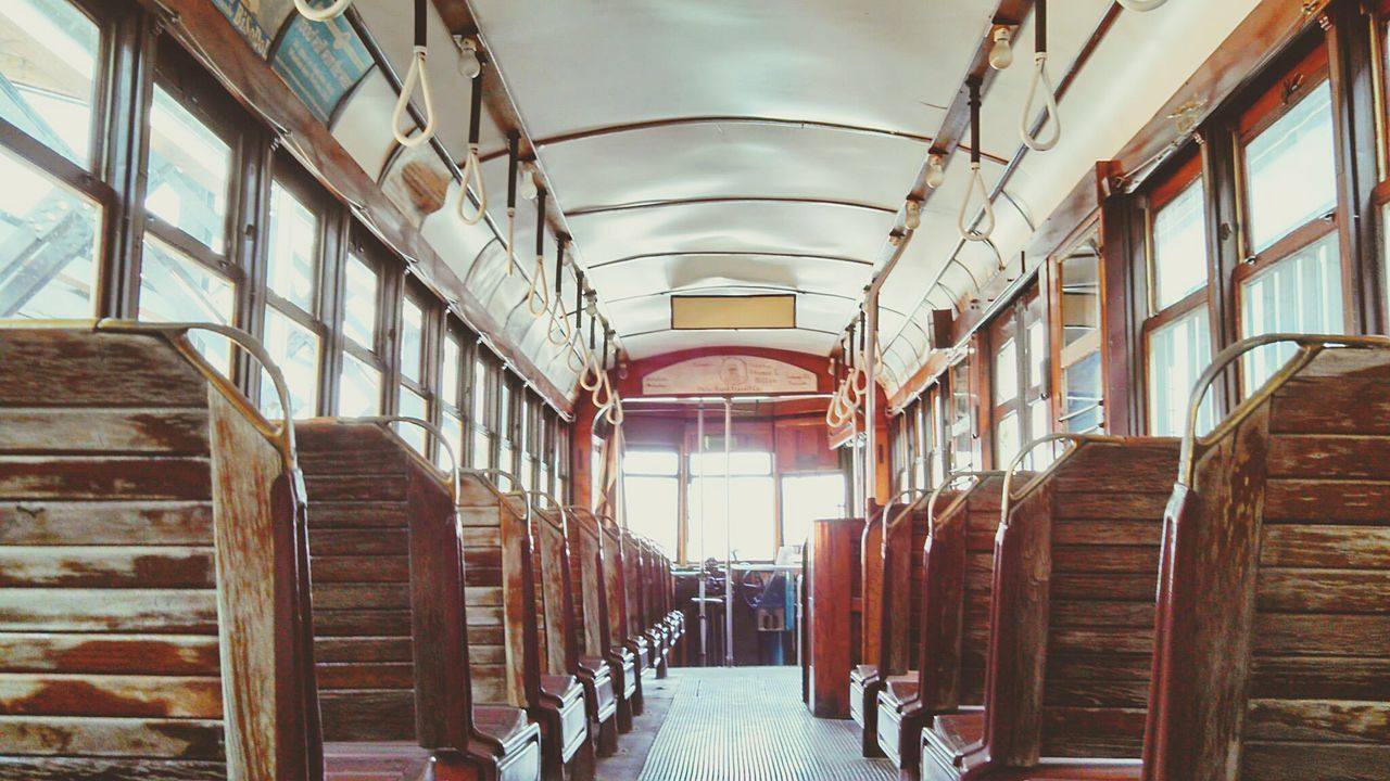Trolley Simple Elegance Antiquity The Good Old Days Wooden Seat Abandonment Interior Views Unedited The Purist My Commute Transportation The Street Photographer - 2016 EyeEm Awards Finding New Frontiers Adapted To The City The City Light