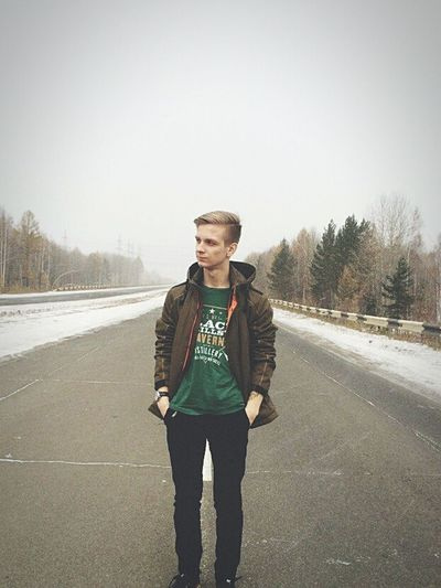 Road Road Senior Adult Full Length Adults Only Portrait Front View One Person People Gray Hair Retirement Winter Adult One Man Only Only Men Water Outdoors Sky Nature Day