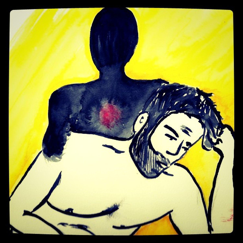 Bed conversations, #illustration Gay Bed Illustration Yellow Bear Amarillo Dibujo Ilustracion Cama Conversación