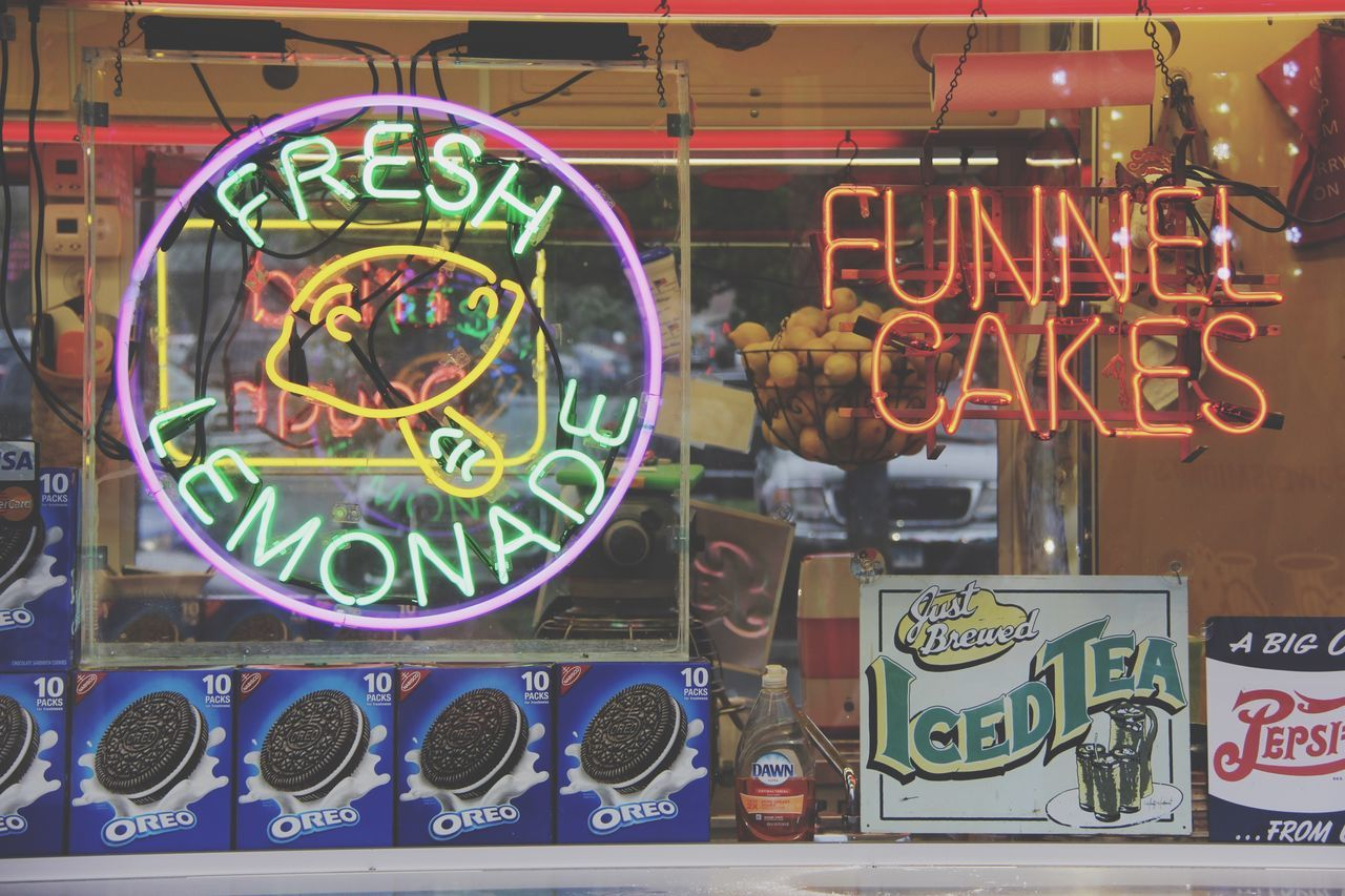 The Essence Of Summer Carnival Lights Multi Colored Neon Lights Neon Neon Sign Fresh Lemonade Fresh FunnelCake Sweets Treats