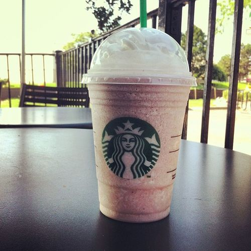 When your mom leaves you at Starbucks. Cool beans... Starbucks Strawberry Cream Frappacino