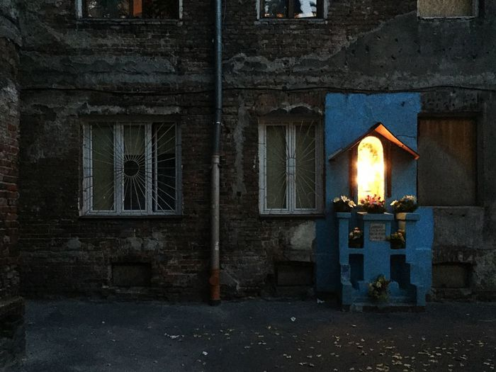 Mary Figure in the Backyard by Night - Night Lights Nightphotography