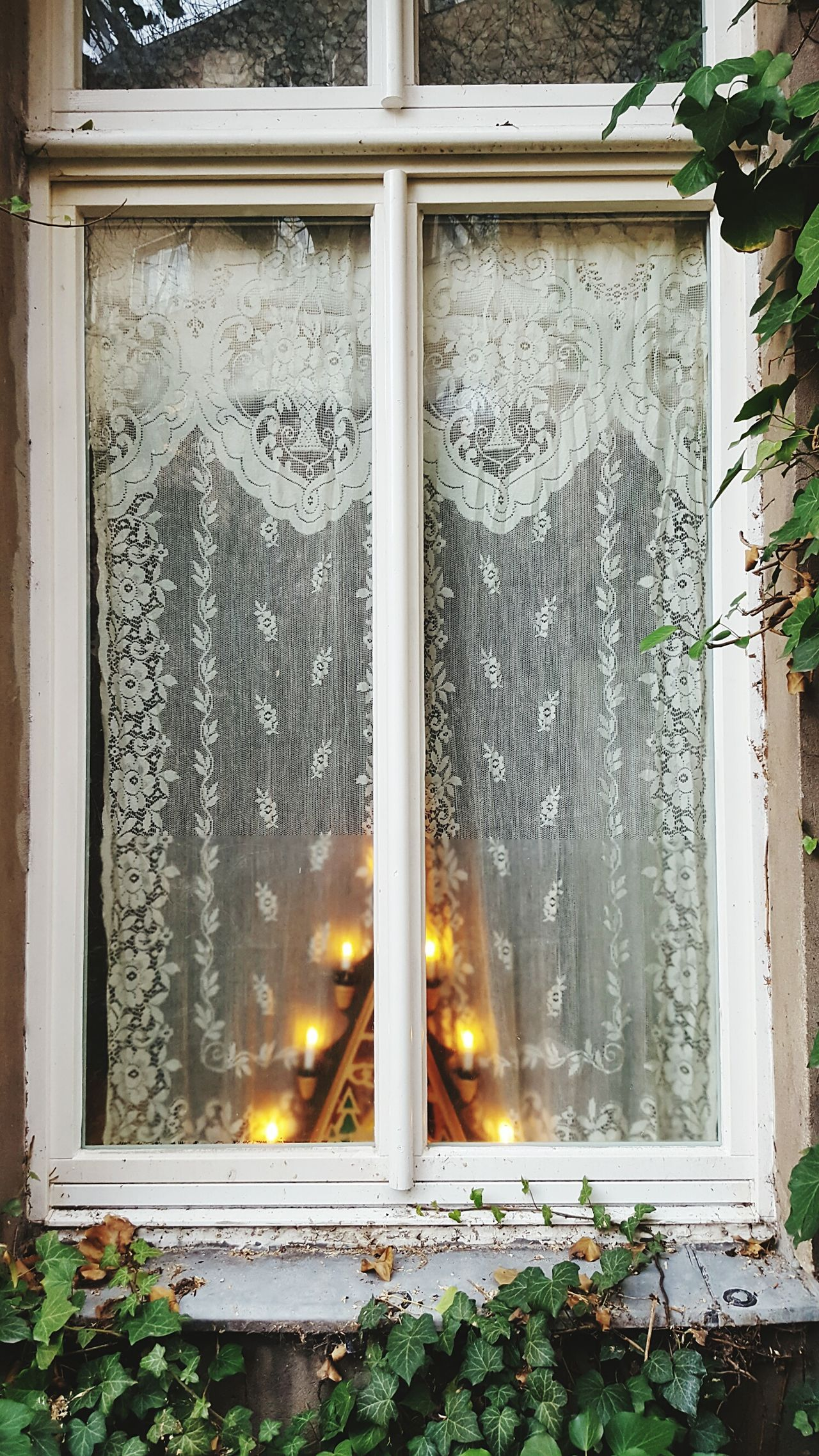 Window No People Outdoors Christmas Time Curtain Light Candles