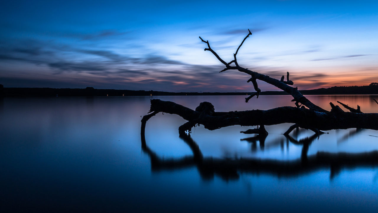 late but not too late / Atmospheric Mood Beauty In Nature Blue Calm Cloud - Sky Driftwood Dusk EyeEm Best Shots Idyllic Lake Lake View Lakeshore Landscape Long Exposure Nature No People Reflection Silhouette Sky Standing Water Sunset Tranquility Water Water Reflections Capturing Motion