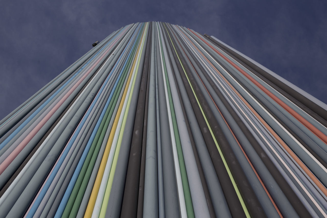 multi colored, architecture, built structure, low angle view, no people, building exterior, outdoors, sky, modern, day, close-up
