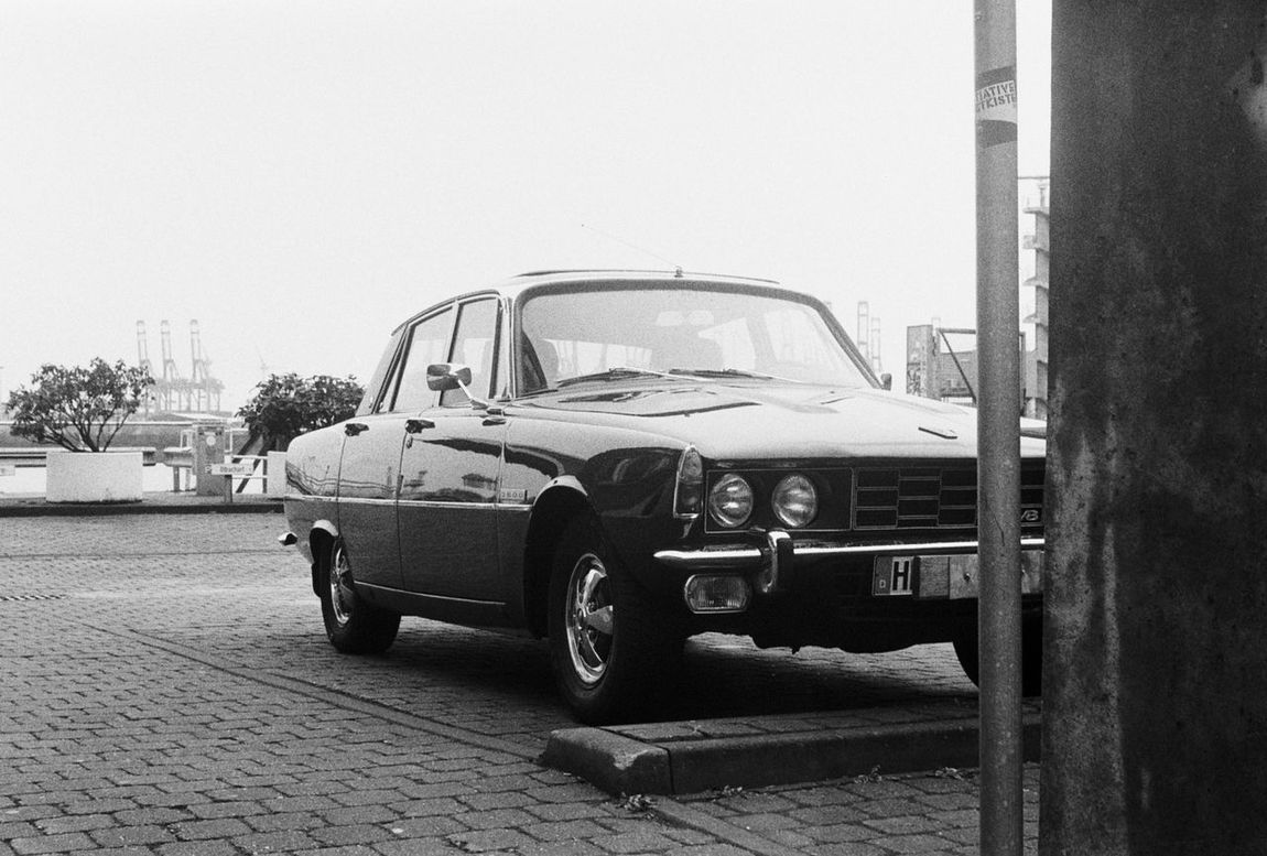 Zwei Zeiten, Contessa, Ilford HP5 400 Analog Analogue Analogue Photography Believe In Film Black And White Blackandwhite Car Contessa Day Film Is Not Dead Harbor Harbour Mode Of Transport No People Oldtimer Outdoors Parking Refelction  The Drive Transportation ZweiZeiten
