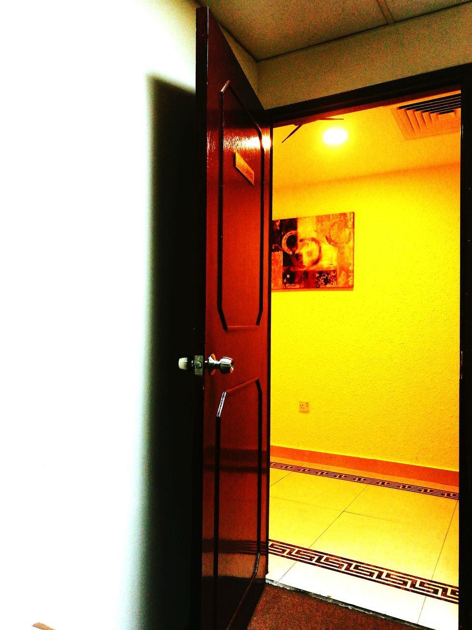 door, illuminated, indoors, open, no people, architecture, built structure, open door, close-up, day
