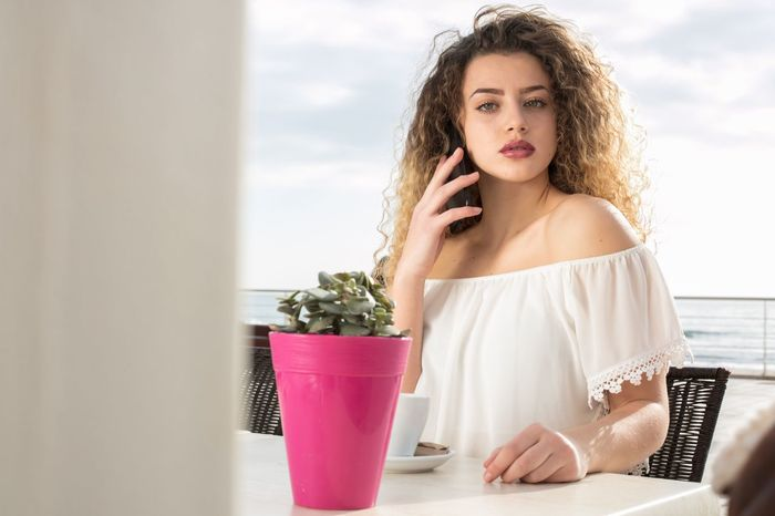 Time To  Take a Brake Beauty Day One Person Beautiful People Attitude Portrait Curly Hair Coffee Time Coffee Break Barcelona Sitges Beach Coffeshop