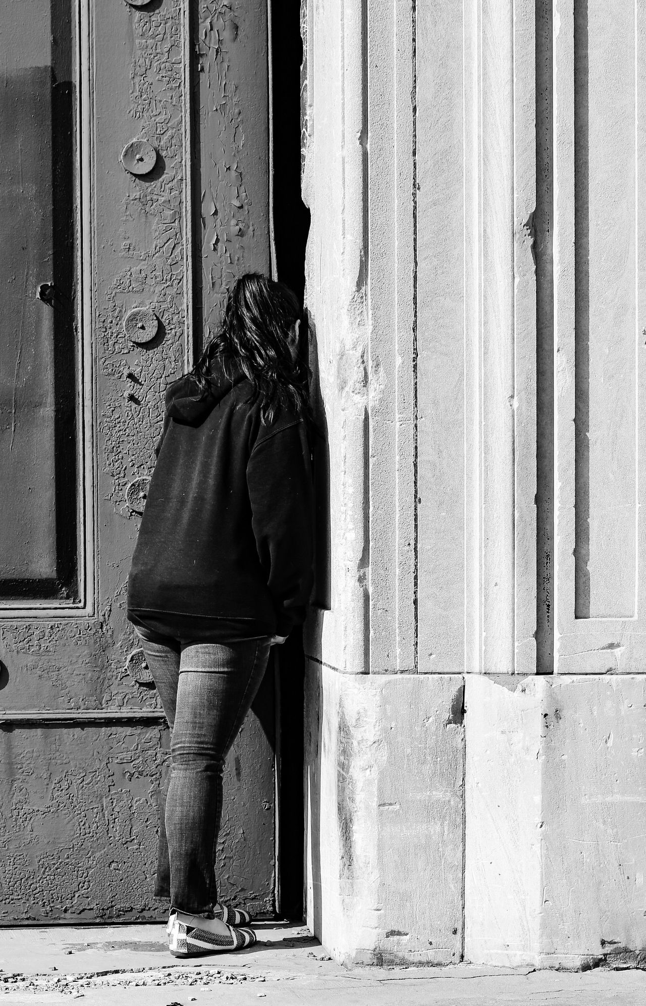 Curiosity. Door Curious Curiosity Full Length Rear View One Person Real People Built Structure Building Exterior Architecture Outdoors Women Standing JGLowe Peeking Baltimore