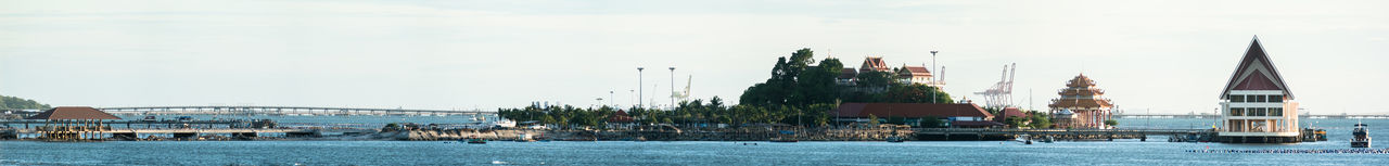 Panoramic view of Koh Loy with renovation of bridge Bridge Bridge - Man Made Structure Buddhist Temple Building Damaged Island Jetty Outdoors Place Port Renovation Si Racha Temple Tree