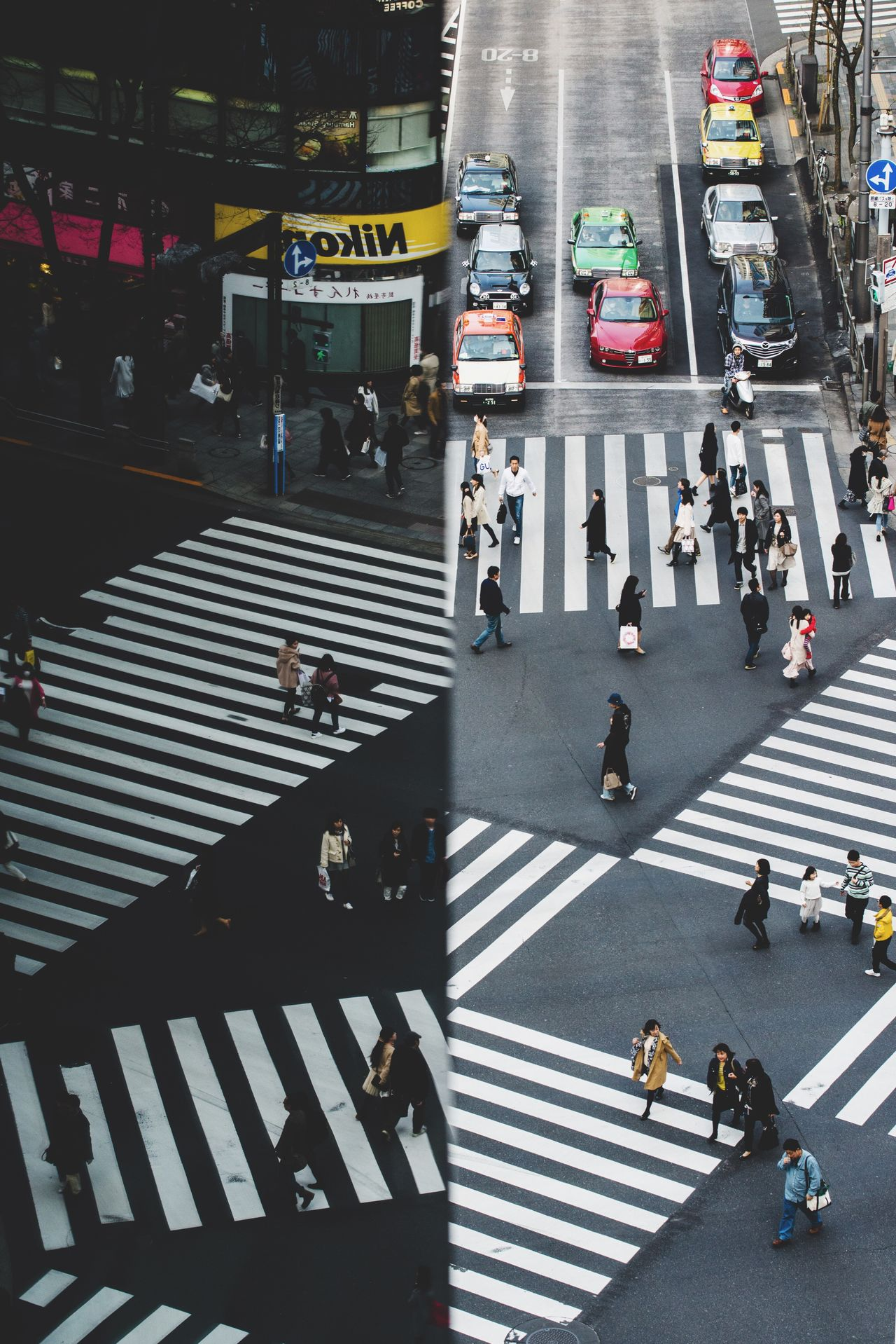 Street Minimalobsession Zebra Crossing High Angle View Large Group Of People Real People City Life Transportation Crossing City Street Minimalism Tokyo Japan Minimal Minimalist Streetphotography City Street The City Light