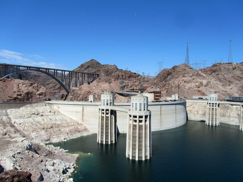 Dam Hydroelectric Power Hoover Dam Hooverdam Nevada, USA Arizona Southwest USA USA Nevada Architecture Staumauer Stausee Lake Power Station Renewable Energy Alternative Energy Water Sky Nature