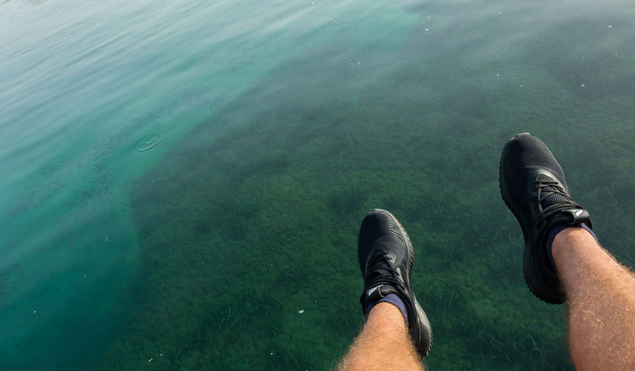 Seaweed Beach Black Sneakers Day Green Water High Angle View Human Body Part Human Leg Men Nature One Person Outdoor Outdoors Personal Perspective Relaxing Moments Sea Shoe Small Fishes Water Done That.