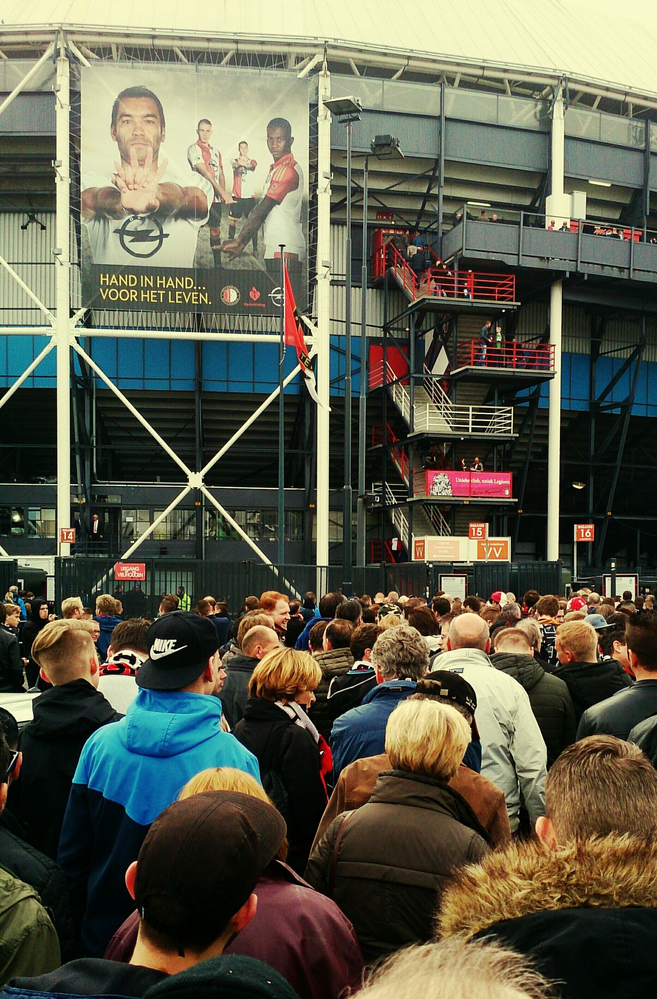 Waiting In Line to enter the Feyenoord Stadium De Kuip for The Match Of The Season against Ajax (c) 2015 Shangita Bose All Rights Reserved Rotterdam Netherlands The Street Photographer - 2016 EyeEm Awards The Photojournalist - 2016 EyeEm Awards Football Fever