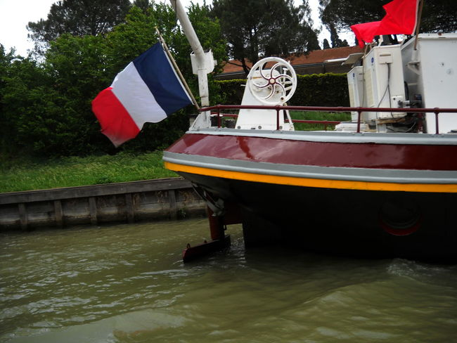 2012 Canal Carcassone Day France French Flag Mode Of Transport Nautical Vessel Outdoors Transportation Water Waterfront