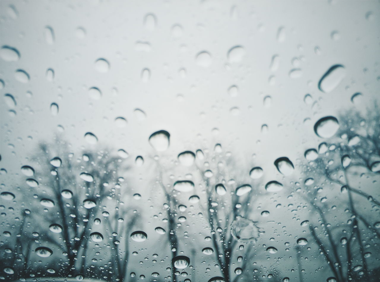 wet, drop, rain, water, window, transparent, indoors, raindrop, season, glass - material, backgrounds, weather, close-up, full frame, focus on foreground, sky, fragility, dew, freshness, rainy, purity
