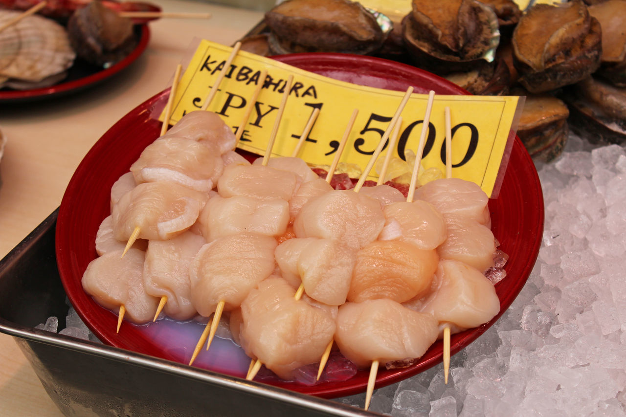 Raw scallops on sale in the Kuromon Ichiba Market, Osaka, Japan Choice Close-up Day Food Food And Drink For Sale Fresh Freshness Ice Indoors  Japanese Food Kuromon Ichiba Market Market Stall No People Price Tag Raw Food Seafood