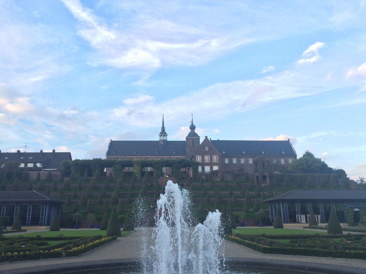 Architecture Building Exterior Built Structure Fountain Sky Water Motion Cloud - Sky Outdoors Day Statue Spraying City No People Nature Cloister