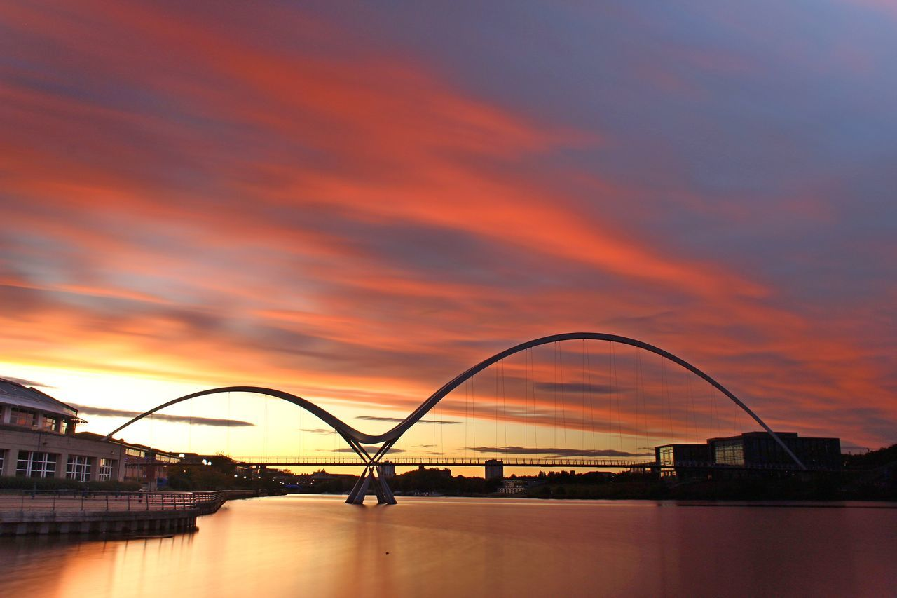 Architecture Bridge - Man Made Structure Building Exterior Built Structure City Cloud - Sky Day Infinity Bridge Nature No People Orange Color Outdoors Scenics Sky Sunset Water Waterfront