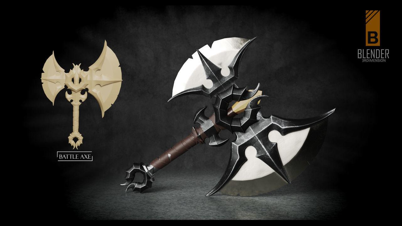 War axe Axe Weapon Weaponsofwar 3Dartist 3Dart Blender 3d 3dmodel 3D 3d Rendering 3D Art Hardsurface Weapons Of War
