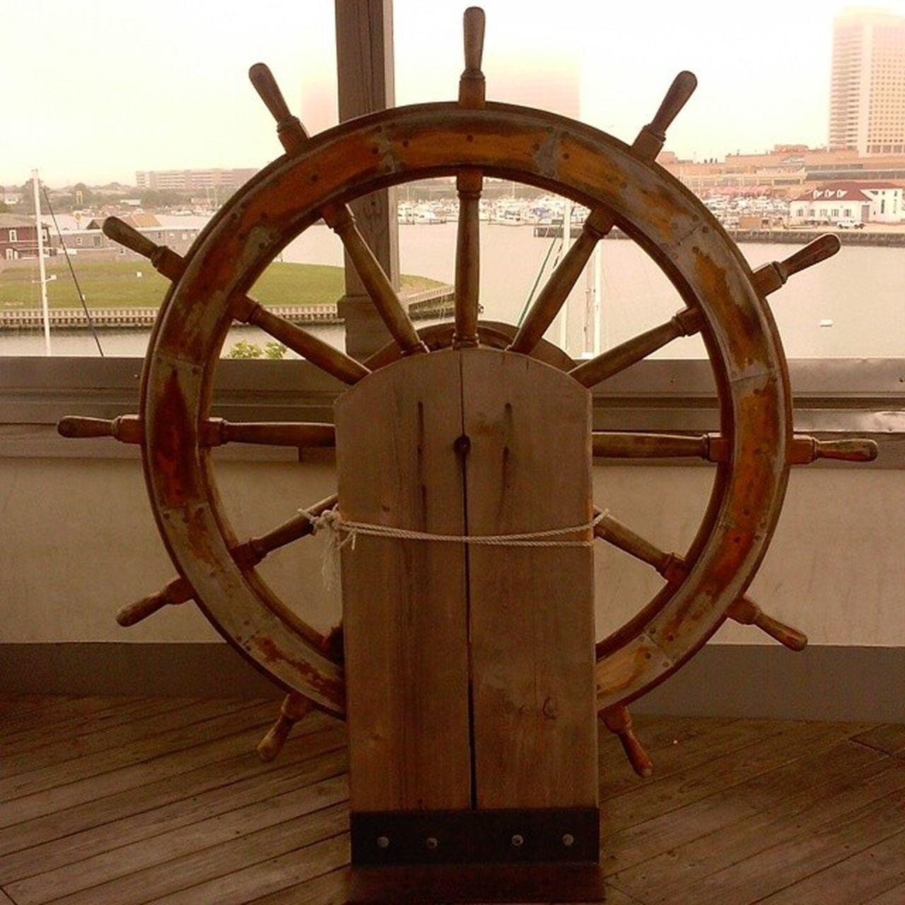 An Antique Nautical Wheel In Ac Atlantic City Wood Oceanside Ocean Life No People