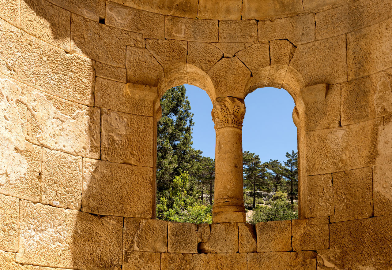 Alahan Monastery Alahan Monastery Architecture Architecture Building Exterior Built Structure Carvings In Stone Columns And Pillars Historical Monuments Historical Sights History Monastery Mut Nature Old Ruin Outdoors Point Of View Ruins Stone Material Turkey Window Window Frame Window View