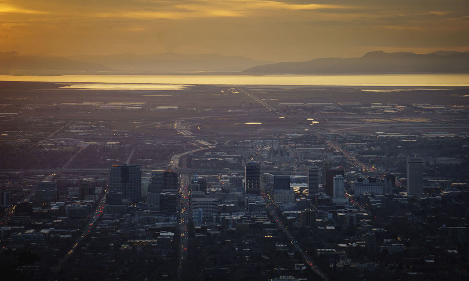 Salt Lake City and the Great Salt Lake at Sunset Aerial View City City Life Cityscae Cityscape Great Salt Lake Outdoors Perspective Salt Lake City Salt Lake City, Utah Skyscraper Utah