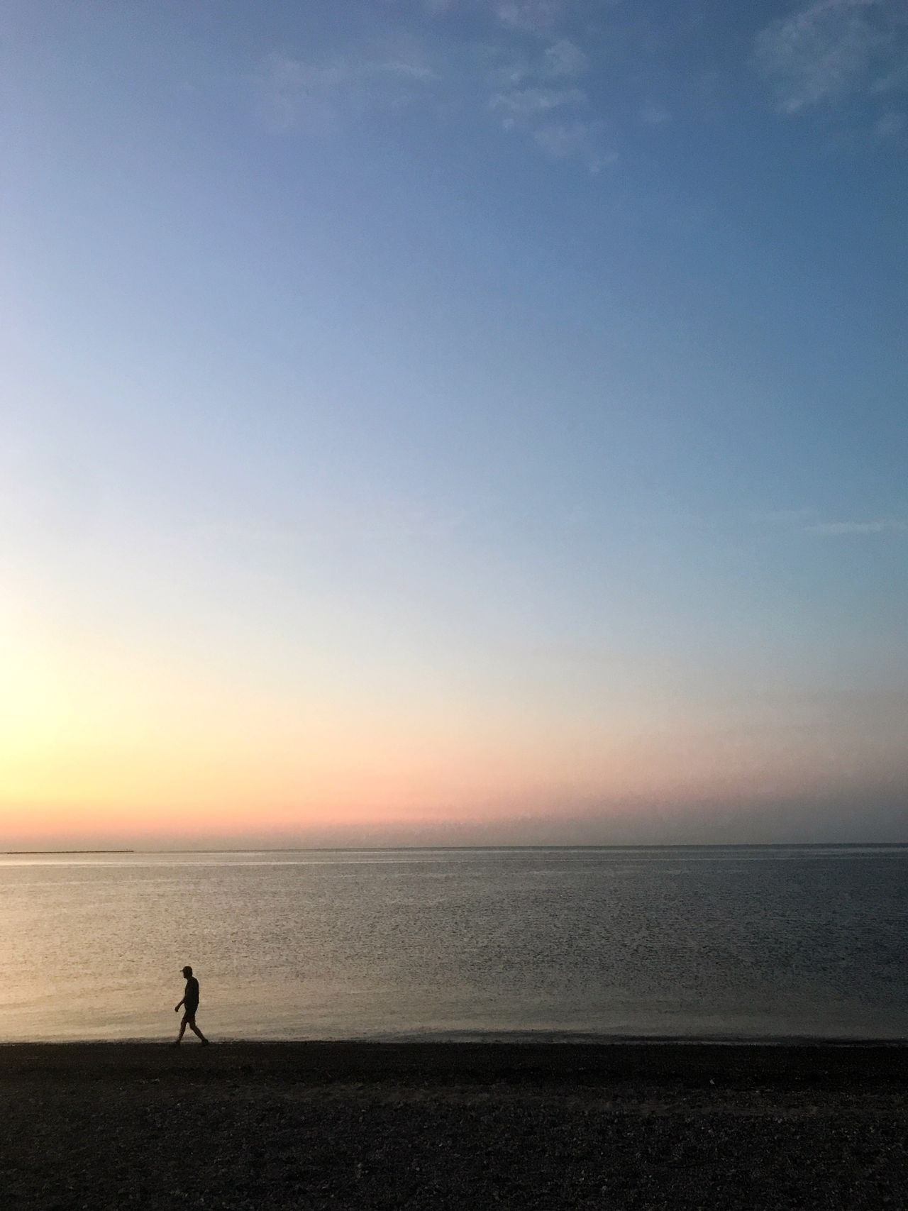 Sea Beach Sunset Horizon Over Water Scenics Beauty In Nature Silhouette Tranquil Scene Nature Tranquility Water Sand Sky Outdoors One Person Full Length Day People