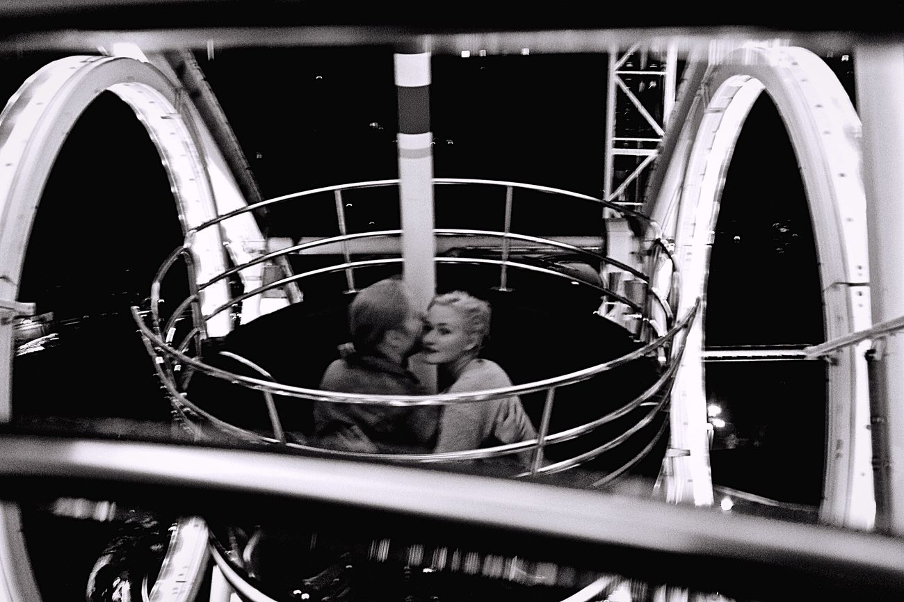 ... Love Couple Outdoors Focus On Foreground B&w Carousel Ferris Wheel Girl Kiss Lights In The Air Up In The Air Man Forest Kisses❌⭕❌⭕
