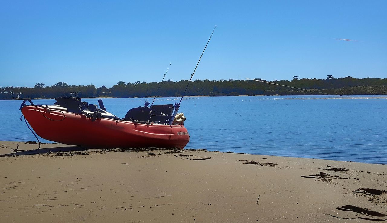 Kayak Fishing Eli Creek Blue Beach Water Sky Outdoors Nautical Vessel Tranquility Sea No People