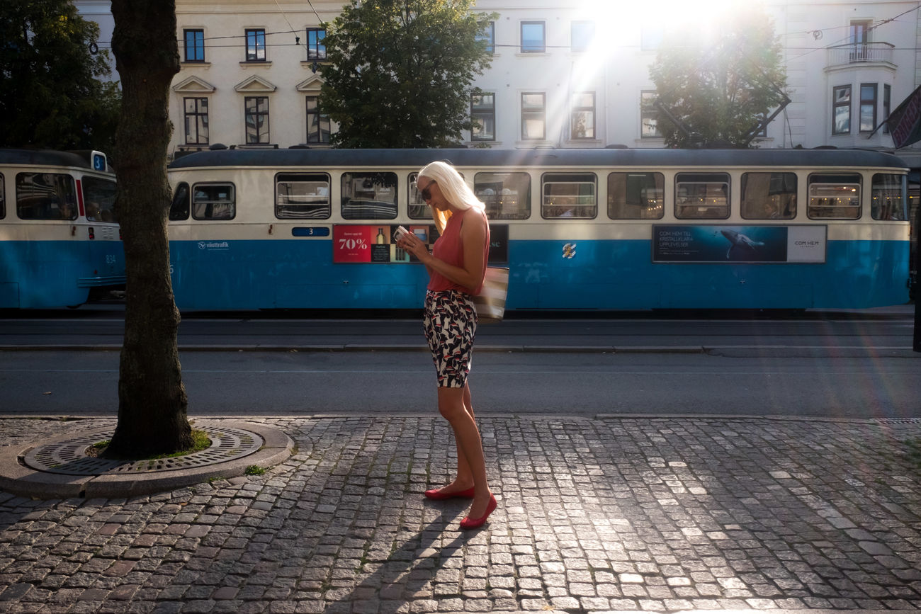 Streetphotography Street Photography City Street One Woman Only One Person City Street One Young Woman Only Adults Only Public Transportation Outdoors Sweden Gothenburg Lets Go. Together.
