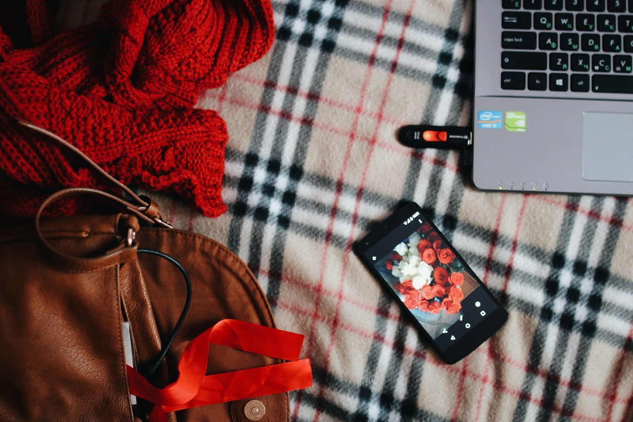 technology, indoors, close-up, wireless technology, table, red, communication, no people, day
