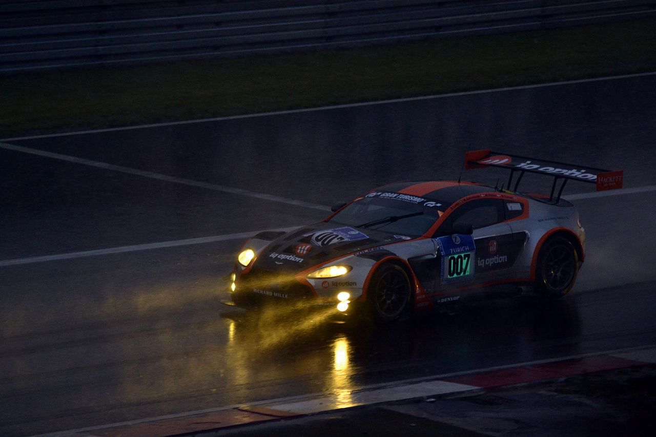 Aston Martin Car Lights Nurburgring Outdoors Racecar Rainy Speed Water Reflections Rain Lights In The Dark Waterreflections