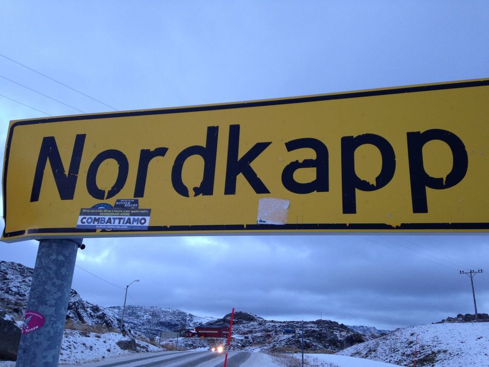 Nordkapp Norway Snow Cold Temperature Text Winter Outdoors No People Day Sky Communication Nature Clear Sky Road Sign